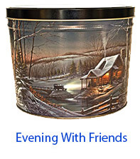 Evening with Friends 2 Gallon Popcorn Tin
