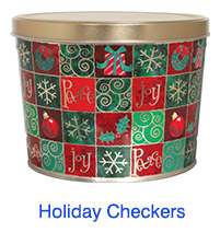 Holiday Checkers 2 Gallon Popcorn Tin