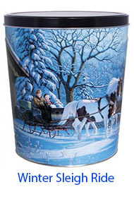 Winter Sleigh Ride 3 1/2 Gallon Tin