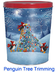 Penguin Tree Trimming 3 1/2 Gallon Popcorn Tin