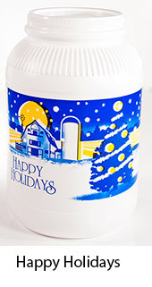 Happy Holidays Plastic Popcorn Container